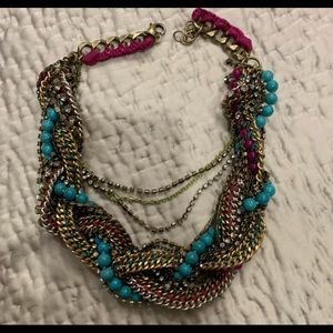 Stella and dot bamboo pink turquoise necklace
